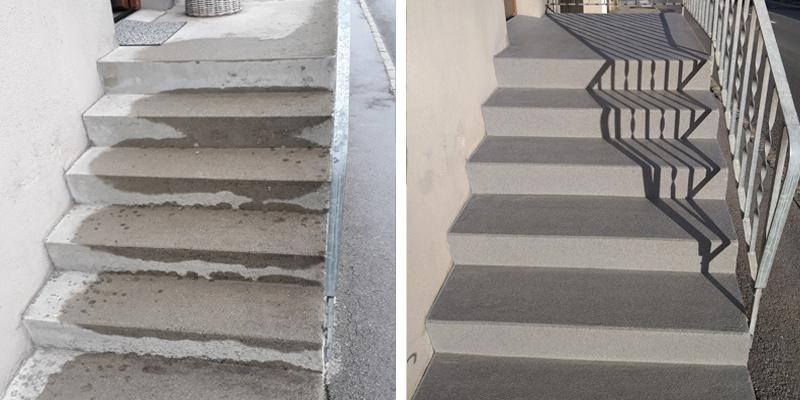 Vorher / Nacher Treppenbeschichtung rutschfest